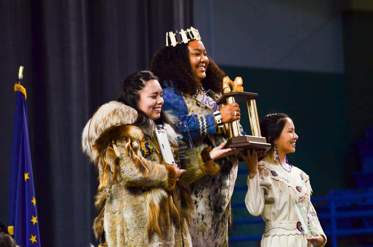 The winner of Miss Eskimo, World Eskimo Olympics held in Fairbanks, Alaska