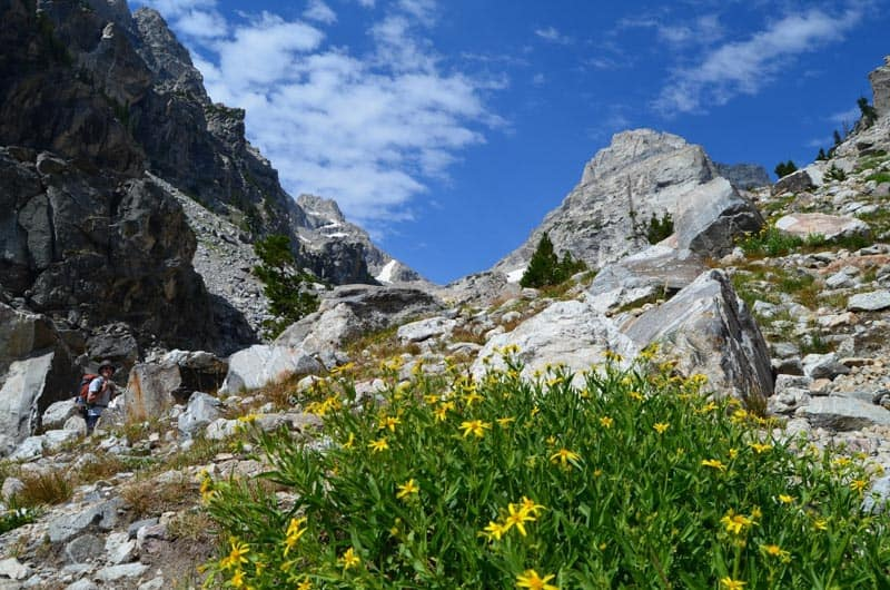 Pohled na Middle Teton ze sedla, Grand Teton National Park