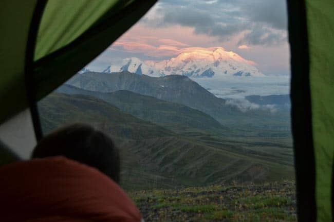 View from the tent in the morning, Alaska: The land of extremes and untouched nature