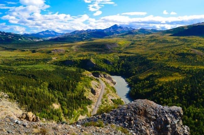 Železniční trať - Alaskan railways, nedaleko Denali