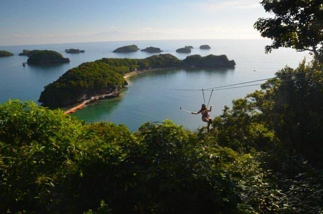 Zipline v národním parku Hundered islands