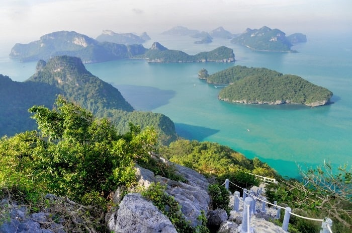 Late afternoon at the Mu Ko Ang Thong National Park viewpoint observation deck