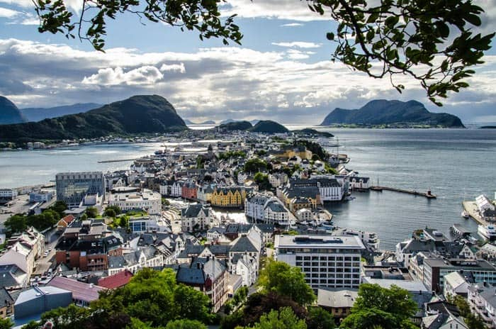 View of Ålesund from Byrampen Viewpoint