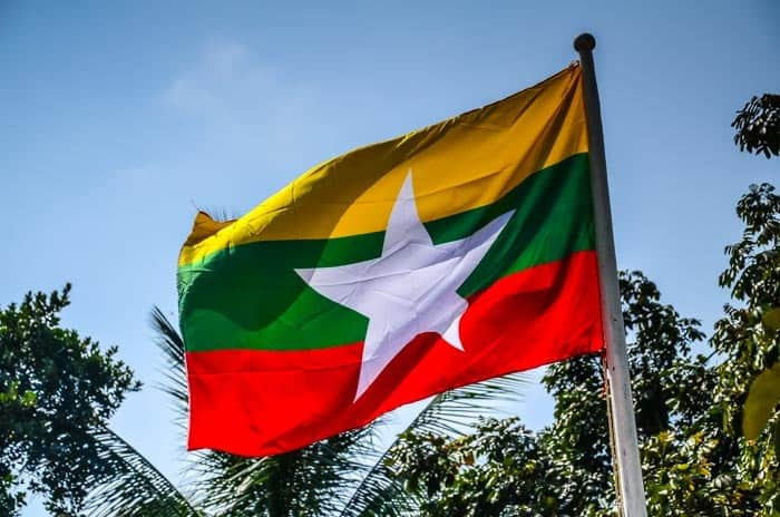 The flag of Myanmar, Southeast Asia