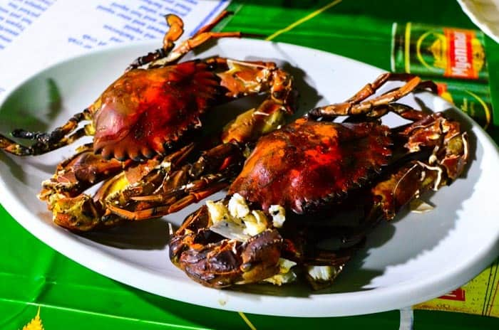 Fresh crab - piece for 1,5 USD. Coast restaurant nearby Dawei.