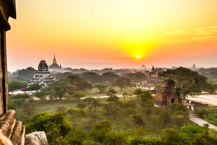 Bagan temples in sunset, Travel to Myanmar, southeast Asia