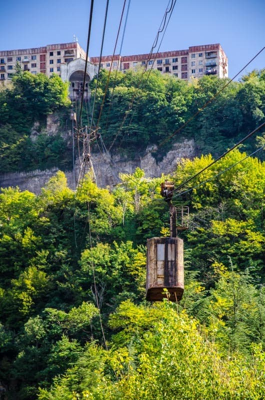 An ancient cable car in Chiatura, Georgia