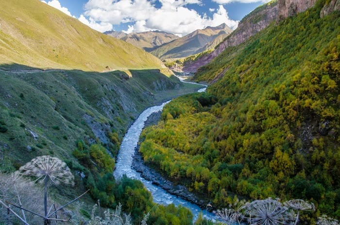 Amazing Falls colors in Kazbegi