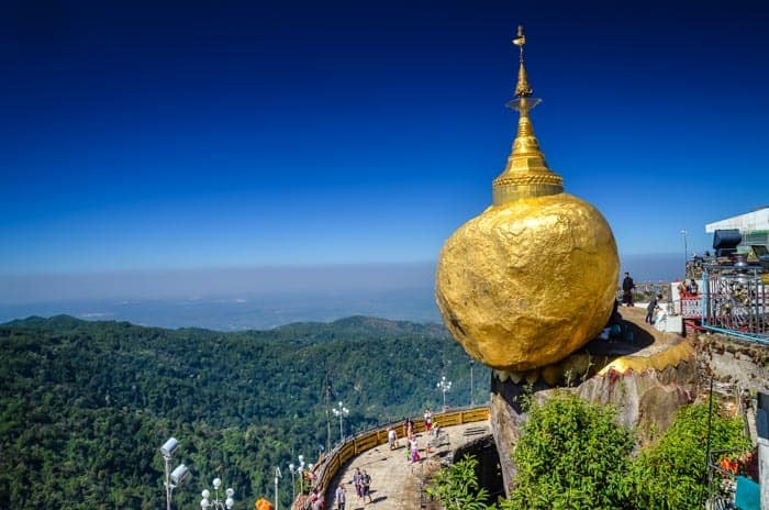 Golden Rock, Myanmar – Giant golden stone balancing on the edge of the rock