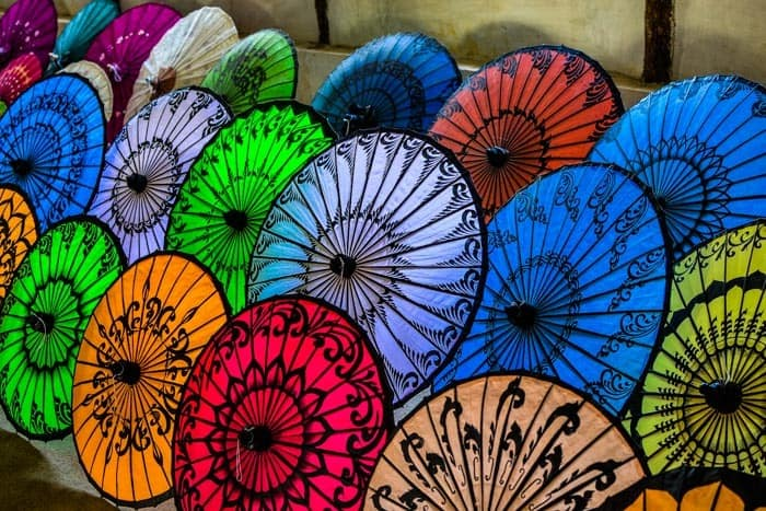 Handmade sun umbrellas workshop at Inle Lake; Myanmar