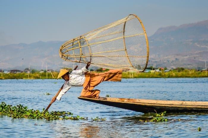 Tradiční barmský rybář, Inle lake
