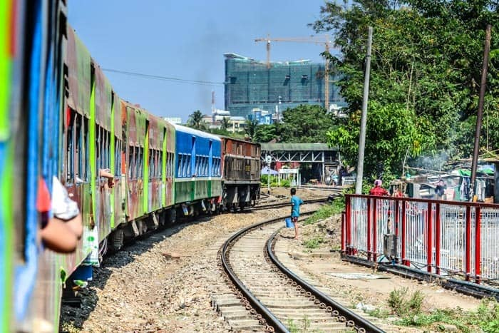 Just take a ride by Yangon Circular train and watch the local life! Myanmar backpacking travel