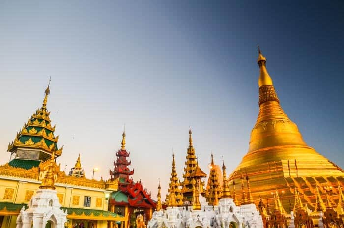 Shwedagon Pagoda – one of the most famous and largest pagodas in Myanmar. Myanmar backpacking travel