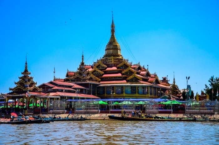 Pagoda on the water of Inle Lake