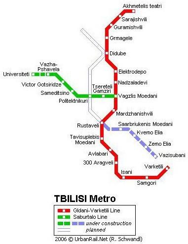 Mapa metra v Tbilisi