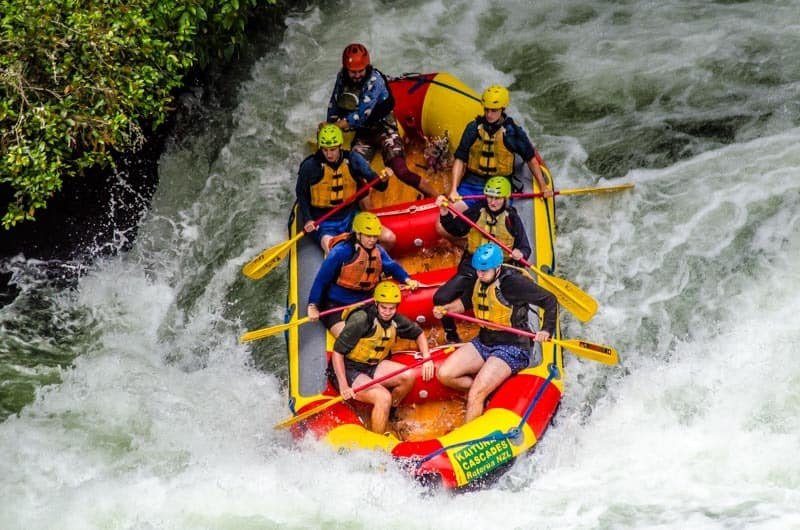 White Water Rafting the highest commercially rafted waterfall Tutea Falls on Kaituna river, Rotorua, New Zealand. Best adventure with Kaituna Cascades.