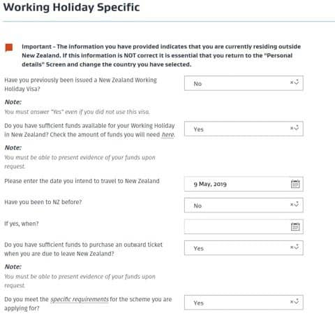 Working Holiday Specific