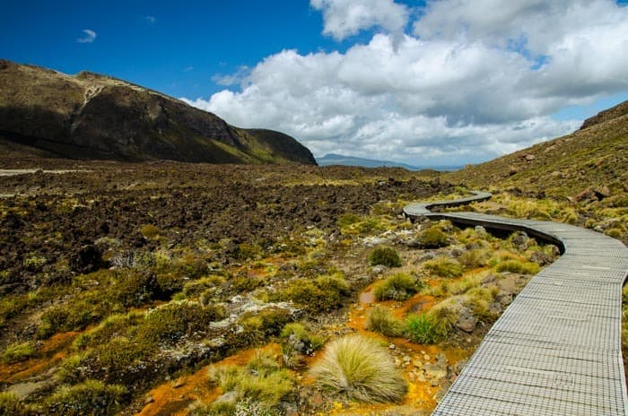 First part of the Tongariro Alpine Crossing – view in the direction to Mangatepopo car park.