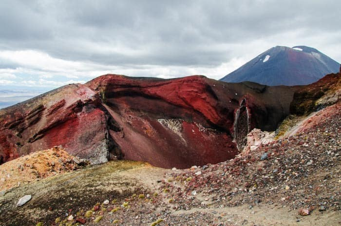 Red crater with Mt. Doom (Ngauruhoe) in background – Tongariro National Park.