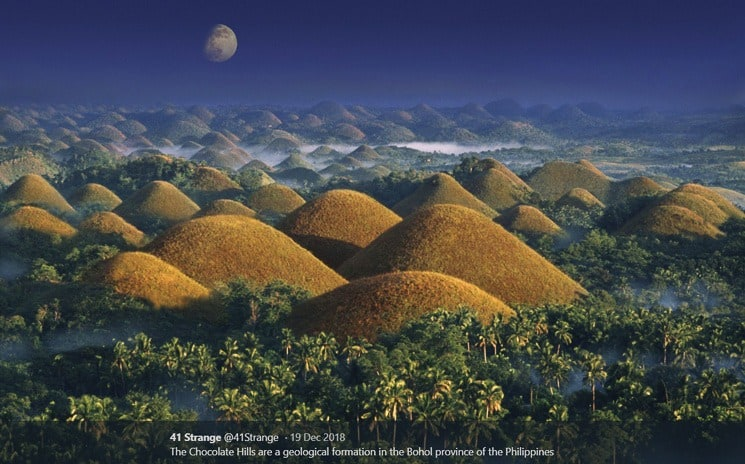 Chocolate Hills - slavné čokoládové kopce ostrova Bohol, Filipíny.