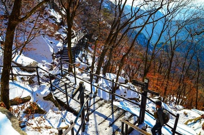 I zimní krajina je nádherná - Národní park Bukhansan.