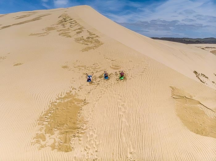An aerial view to the Giant Sand Dunes. Northland, New Zealand.