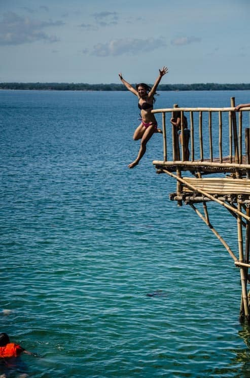 Cool jumps at the Bamboo Bar, Hundred Islands National Park. Luzon in the Philippines