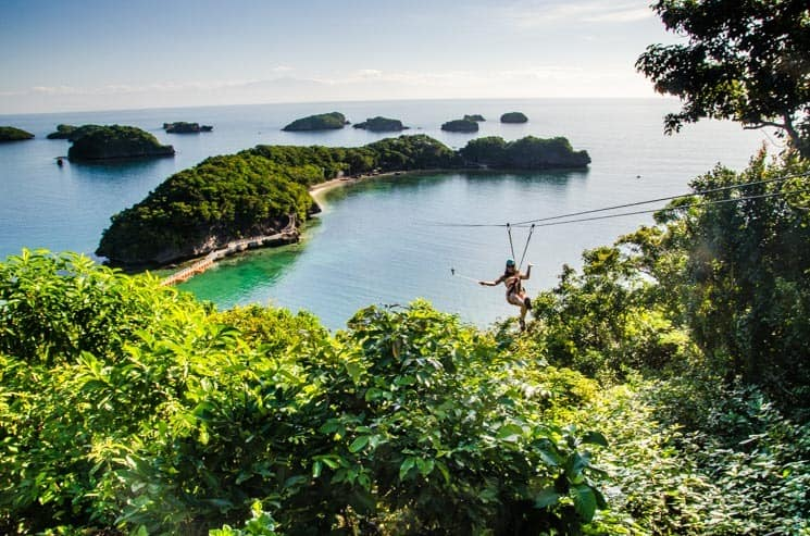 Amazing Zip line in Hundred Islands National Park. Luzon in the Philippines