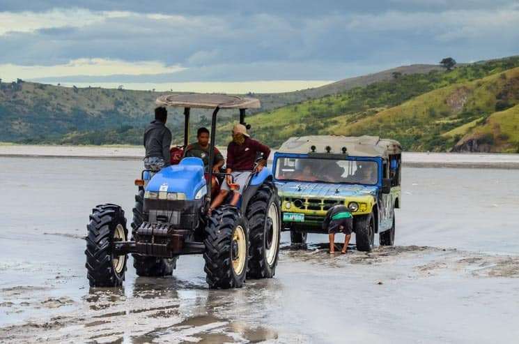 Crossing the river - tractor has to help, Luzon, the Philippines