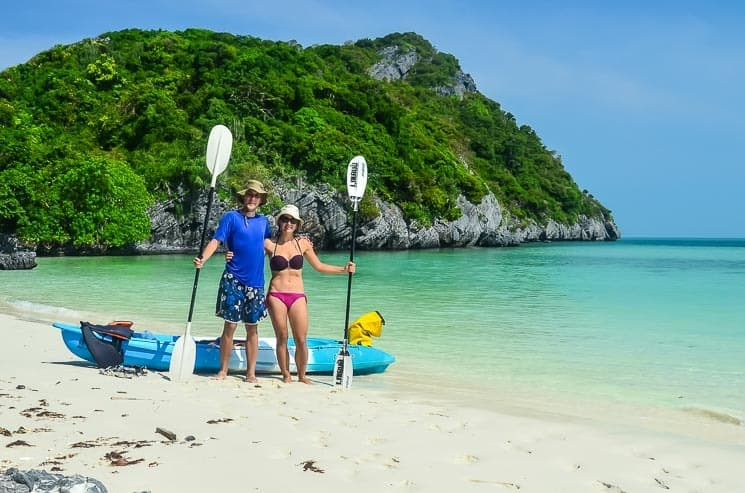Kayaks can be hired on almost every beach, photo from nearby Ang Thong Marine Park