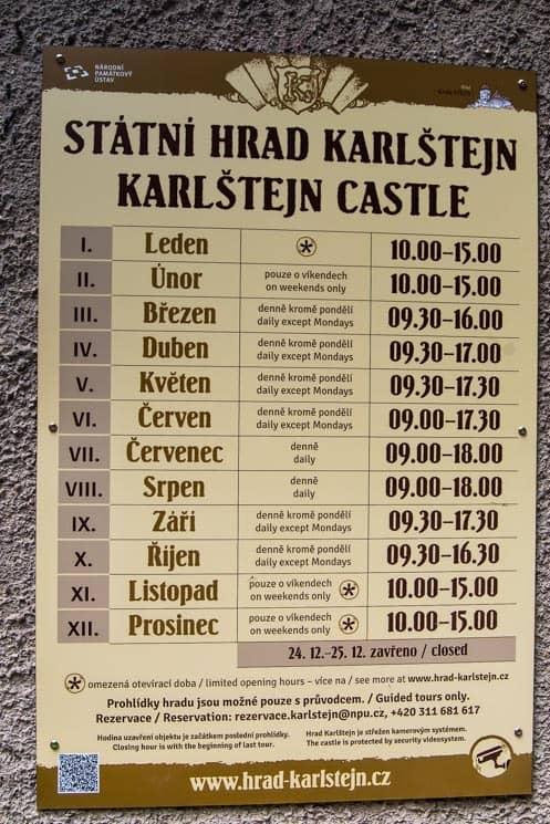 Opening hours of Karlštejn Castle, Czech Republic