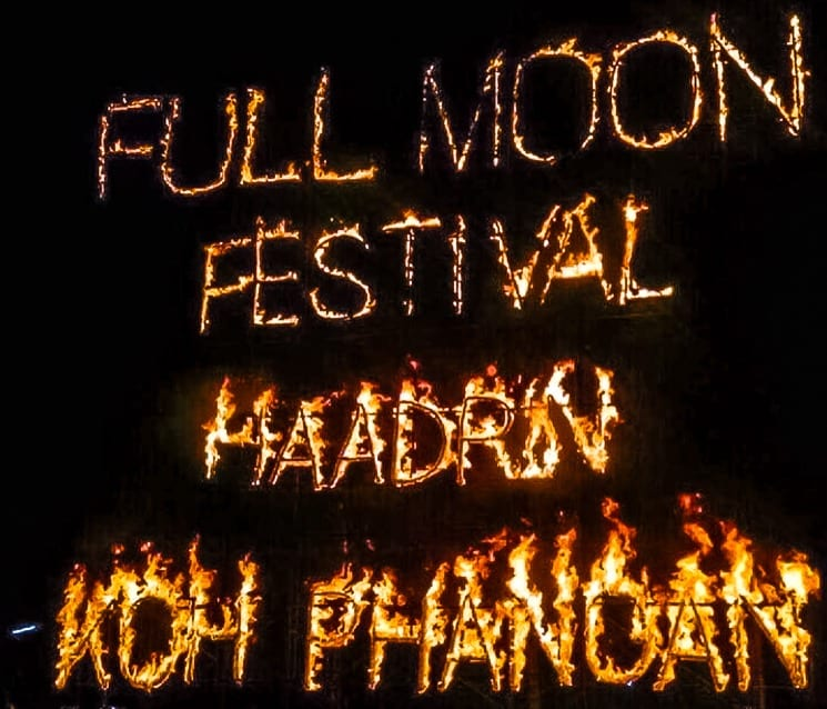 Fires at Full Moon Party! Koh Phangan, Thailand
