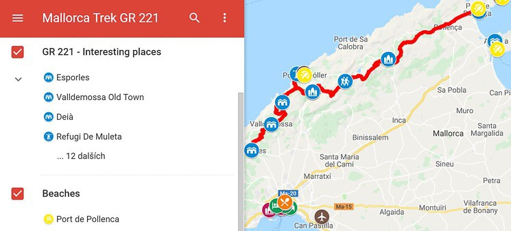 Map Mallorca GR 221 trek