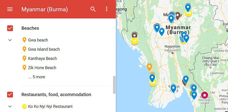 Map Myanmar Burma, best Places to visit in Myanmar