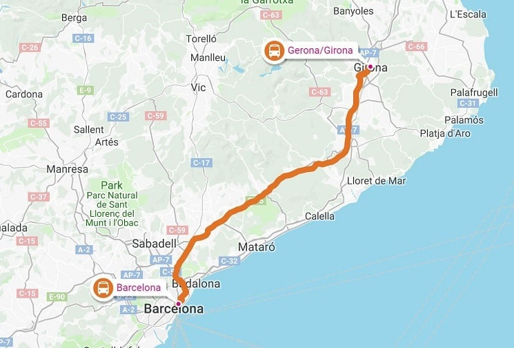 Airport Girona is quite far from Barcelona.