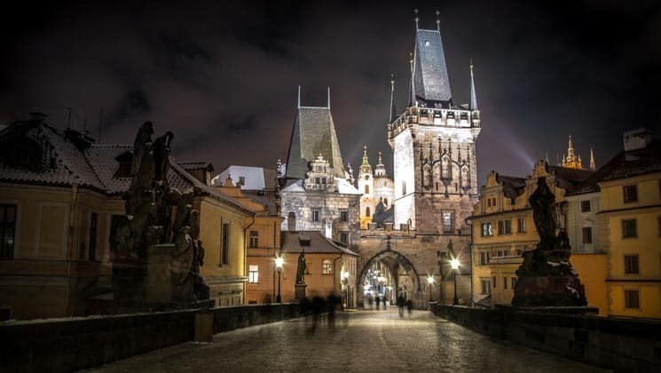 Malá Strana (Lesse Town) Bridge Towers at Night - Charles Bridge Prague
