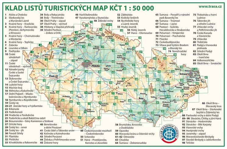 Klad listů - turistické mapy Klubu českých turistů