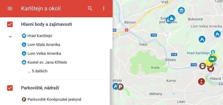 Mapa Karlštejn a okolí