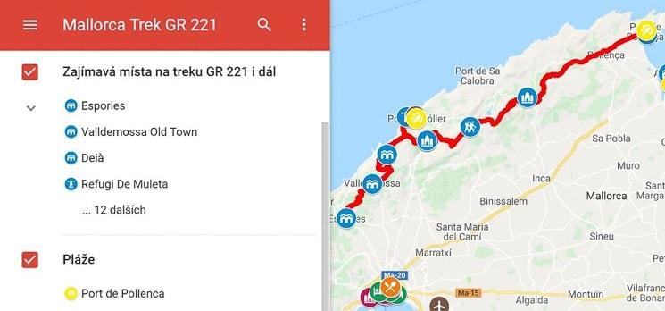 Mapa Mallorca trek GR 221
