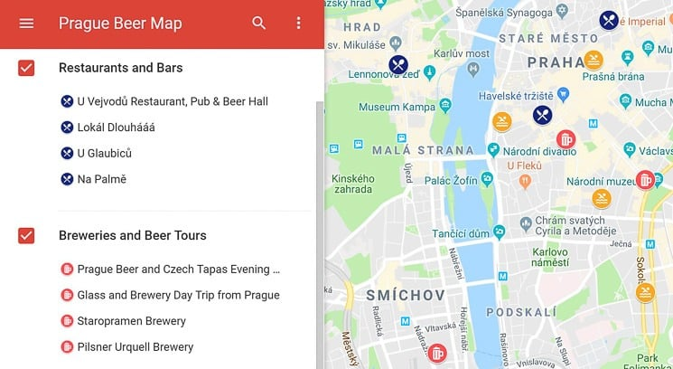 Prague Beer Map