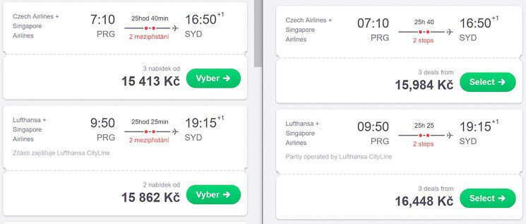 The same flights are $25 more expensive on the English version of Skyscanner (right).