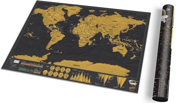 Stírací mapa světa na zeď Deluxe - černá