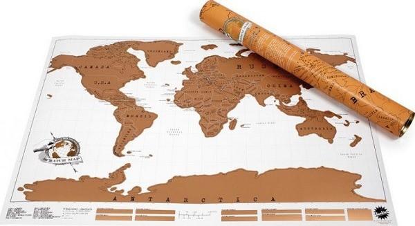 Stírací mapa světa Deluxe - zlatá