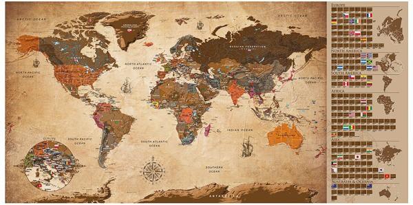 Stírací mapa světa na zeď Vintage - hnědá