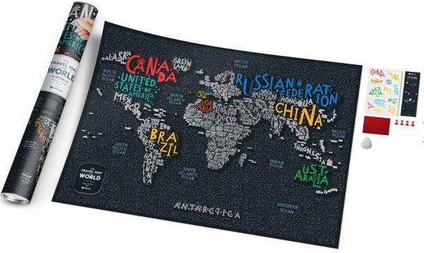 Stírací mapa světa - písmenková 2