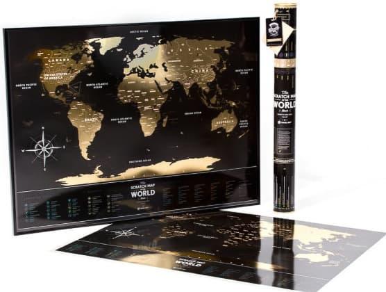 Stírací mapa světa plastová - černá