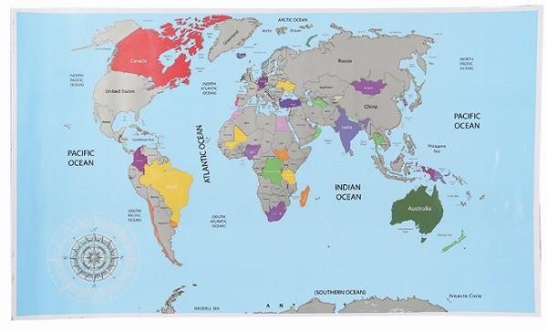 Stírací mapa světa - základní