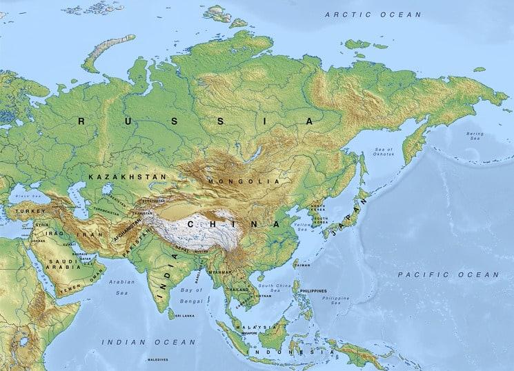 Fyzická mapa Asie
