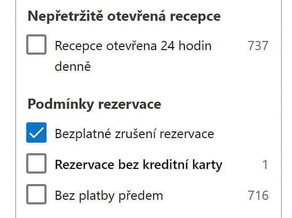 Booking.com - bezplatné zrušení rezervace