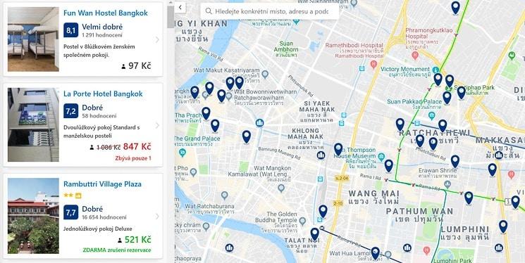Booking.com - hledání podle mapy